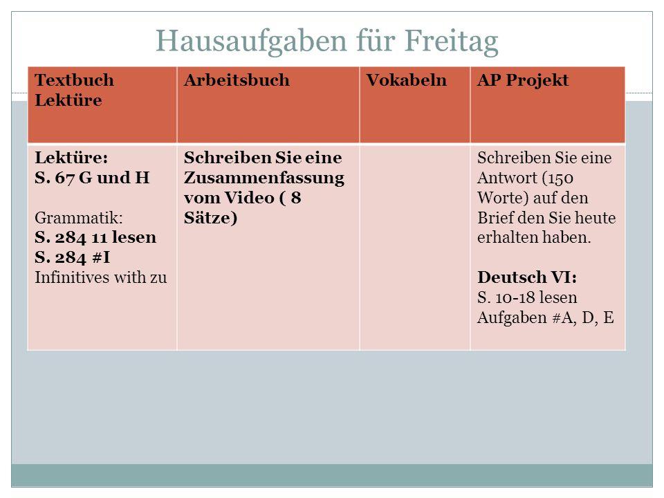 Hausaufgaben für Freitag Textbuch Lektüre ArbeitsbuchVokabelnAP Projekt Lektüre: S. 67 G und H Grammatik: S. 284 11 lesen S. 284 #I Infinitives with z
