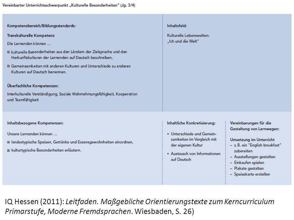 IQ Hessen (2011): Leitfaden. Maßgebliche Orientierungstexte zum Kerncurriculum Primarstufe, Moderne Fremdsprachen. Wiesbaden, S. 26)