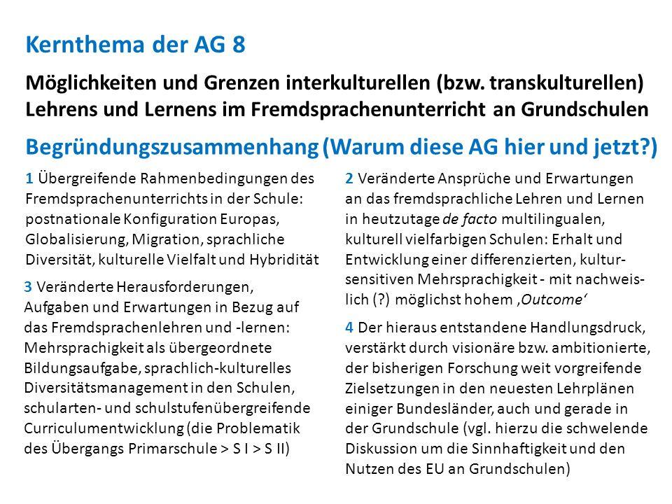 Kernthema der AG 8 Möglichkeiten und Grenzen interkulturellen (bzw. transkulturellen) Lehrens und Lernens im Fremdsprachenunterricht an Grundschulen 3