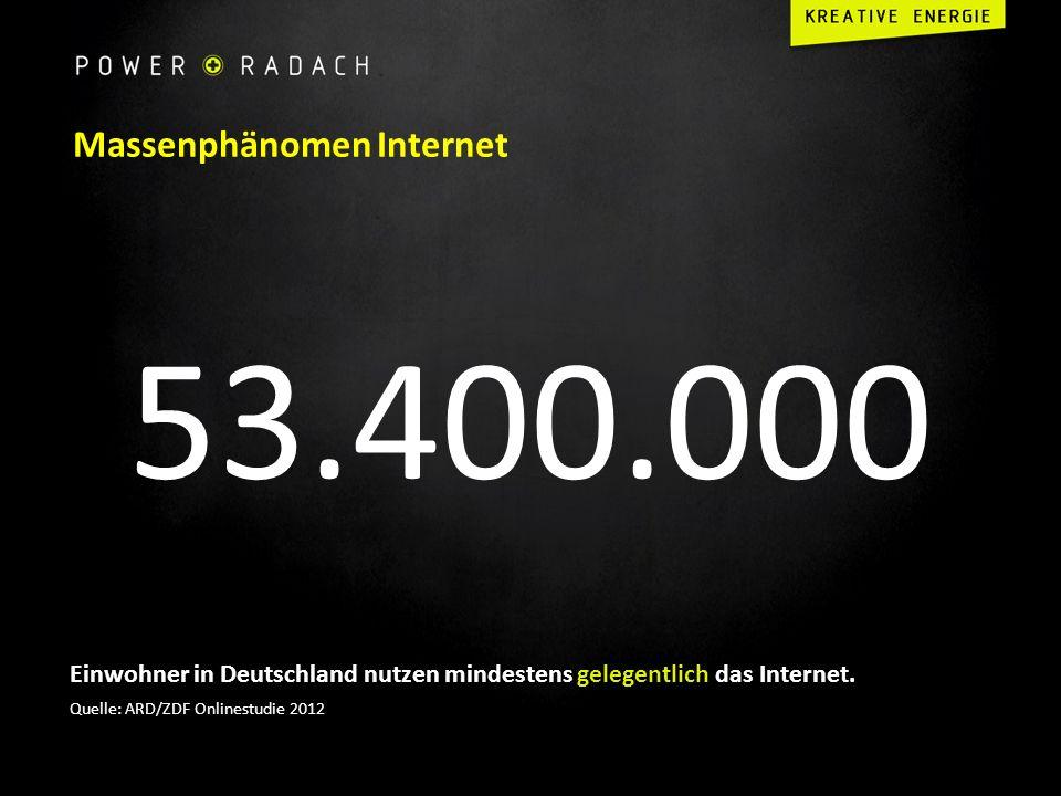Massenphänomen Internet 53.400.000 Einwohner in Deutschland nutzen mindestens gelegentlich das Internet. Quelle: ARD/ZDF Onlinestudie 2012