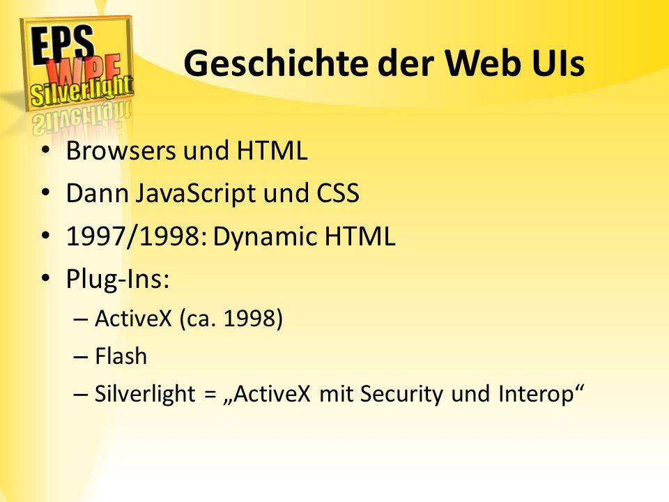 Geschichte der Web UIs Browsers und HTML Dann JavaScript und CSS 1997/1998: Dynamic HTML Plug-Ins: – ActiveX (ca. 1998) – Flash – Silverlight = Active