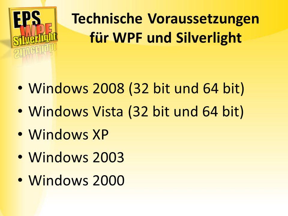 Technische Voraussetzungen für WPF und Silverlight Windows 2008 (32 bit und 64 bit) Windows Vista (32 bit und 64 bit) Windows XP Windows 2003 Windows