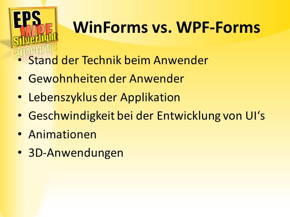 WinForms vs. WPF-Forms Stand der Technik beim Anwender Gewohnheiten der Anwender Lebenszyklus der Applikation Geschwindigkeit bei der Entwicklung von