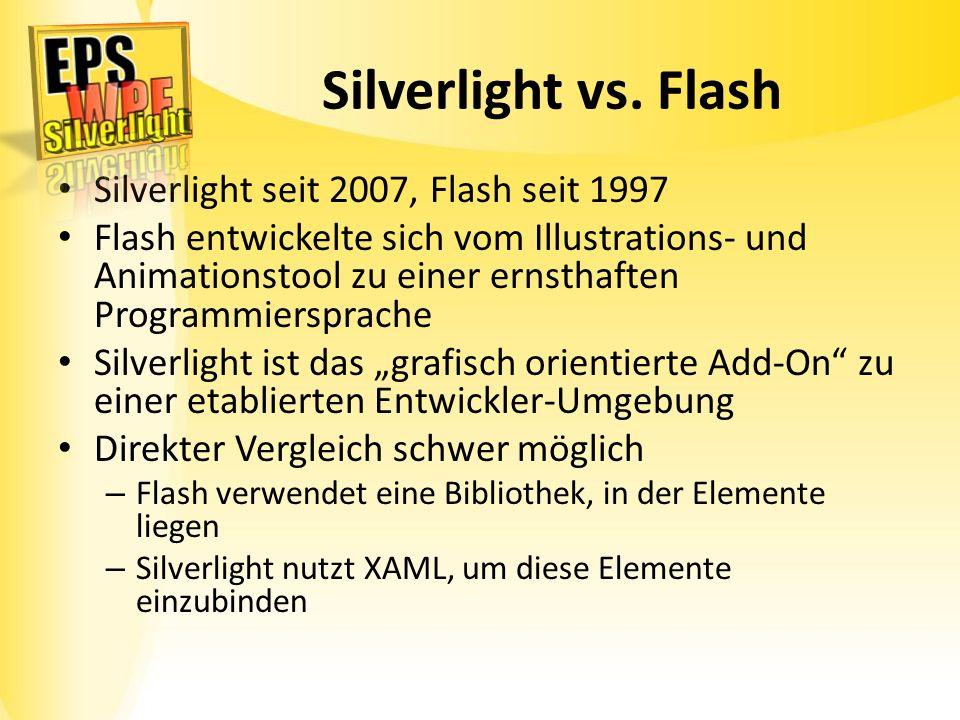 Silverlight vs. Flash Silverlight seit 2007, Flash seit 1997 Flash entwickelte sich vom Illustrations- und Animationstool zu einer ernsthaften Program