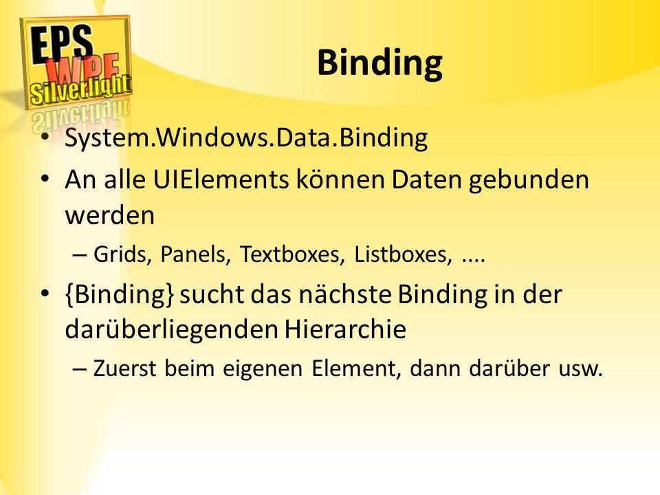 Binding System.Windows.Data.Binding An alle UIElements können Daten gebunden werden – Grids, Panels, Textboxes, Listboxes,.... {Binding} sucht das näc