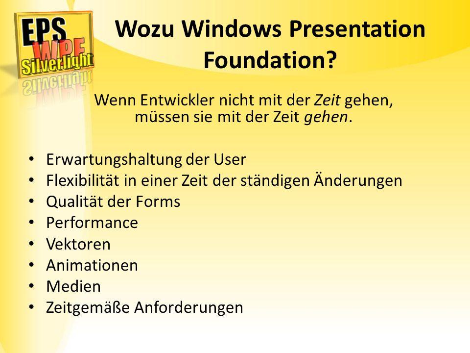 Wozu Windows Presentation Foundation? Wenn Entwickler nicht mit der Zeit gehen, müssen sie mit der Zeit gehen. Erwartungshaltung der User Flexibilität