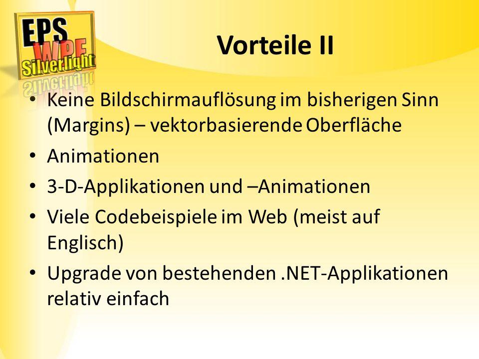 Vorteile II Keine Bildschirmauflösung im bisherigen Sinn (Margins) – vektorbasierende Oberfläche Animationen 3-D-Applikationen und –Animationen Viele
