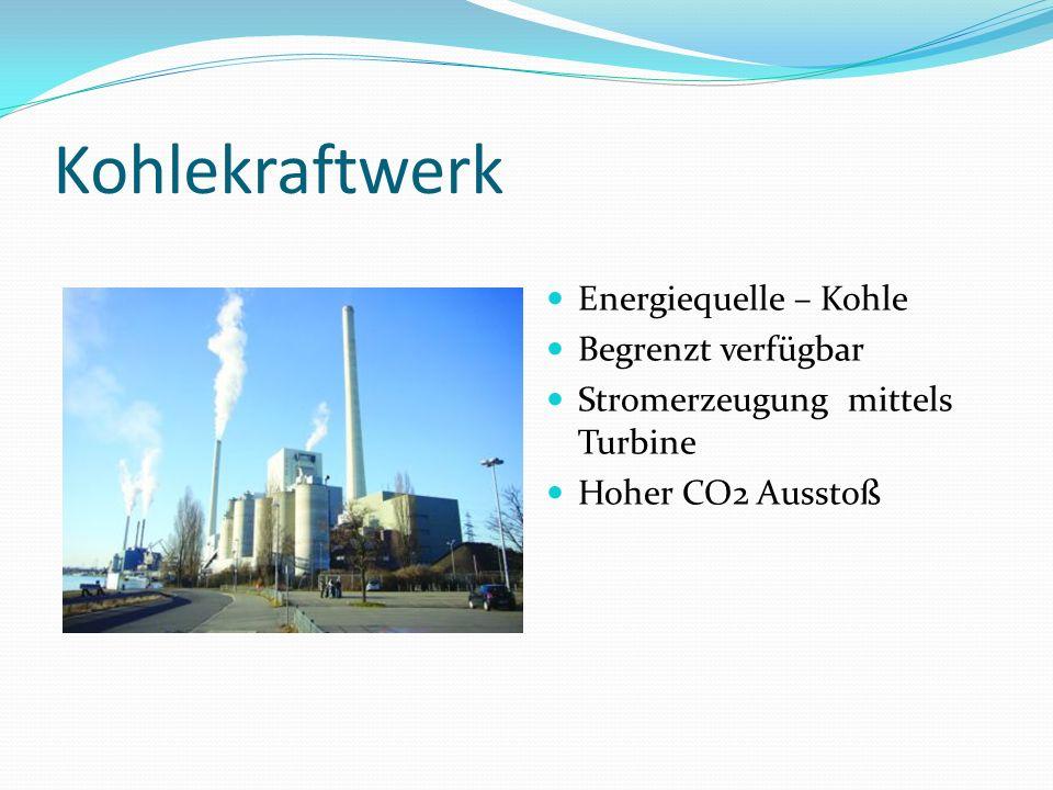 Kohlekraftwerk Energiequelle – Kohle Begrenzt verfügbar Stromerzeugung mittels Turbine Hoher CO2 Ausstoß