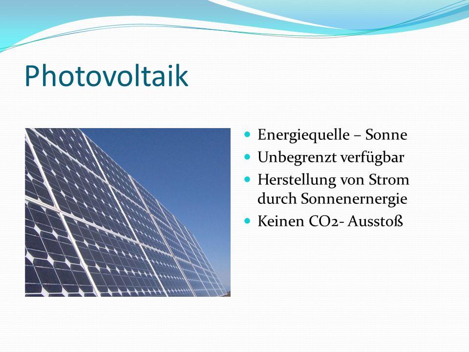 Photovoltaik Energiequelle – Sonne Unbegrenzt verfügbar Herstellung von Strom durch Sonnenernergie Keinen CO2- Ausstoß