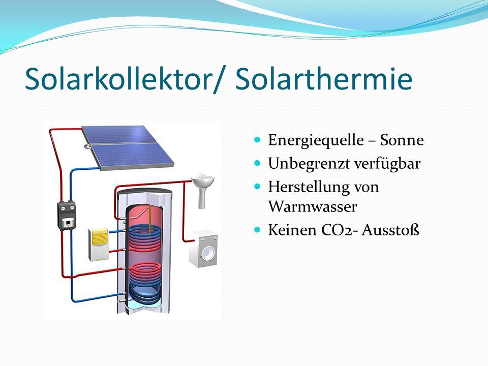 Solarkollektor/ Solarthermie Energiequelle – Sonne Unbegrenzt verfügbar Herstellung von Warmwasser Keinen CO2- Ausstoß