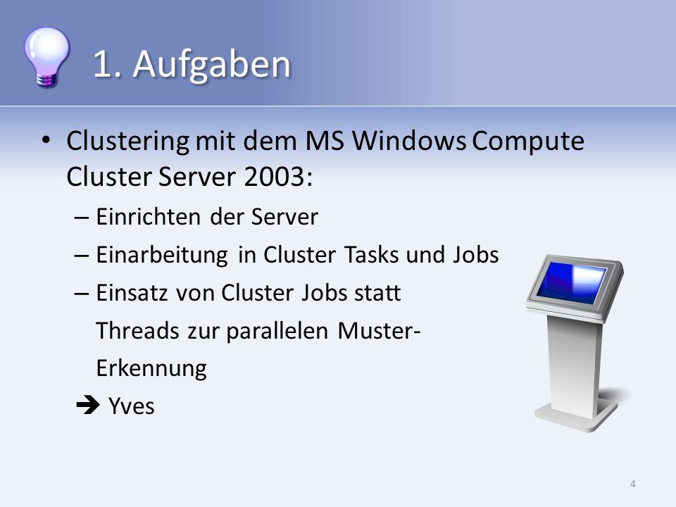 1. Aufgaben Clustering mit dem MS Windows Compute Cluster Server 2003: – Einrichten der Server – Einarbeitung in Cluster Tasks und Jobs – Einsatz von