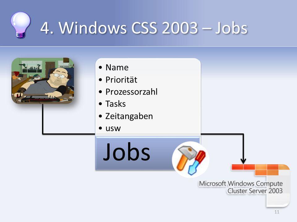 4. Windows CSS 2003 – Jobs 11 Name Priorität Prozessorzahl Tasks Zeitangaben usw Jobs