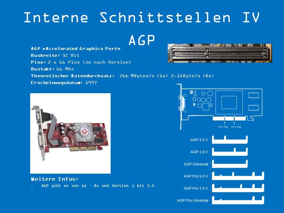AGP «Accelerated Graphics Port» Busbreite: 32 Bit Pins: 2 x 66 Pins (Je nach Version) Bustakt: 66 MHz Theoretischer Datendurchsatz: 266 MBytes/s (1x)