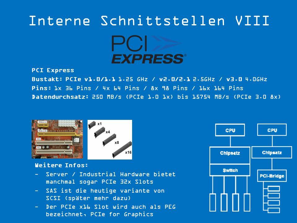 Weitere Infos: -Server / Industrial Hardware bietet manchmal sogar PCIe 32x Slots -SAS ist die heutige variante von SCSI (später mehr dazu) -Der PCIe