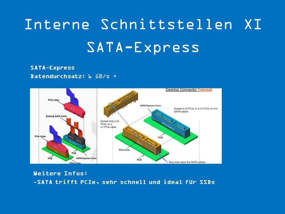 Weitere Infos: -SATA trifft PCIe, sehr schnell und ideal für SSDs SATA-Express Datendurchsatz: 6 GB/s +