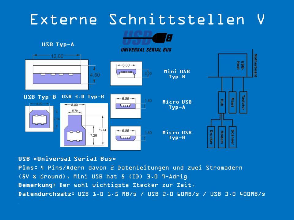 USB 3.0 Typ-B USB Typ-A USB Typ-B Mini USB Typ-B Micro USB Typ-A Micro USB Typ-B USB «Universal Serial Bus» Pins: 4 Pins/Adern davon 2 Datenleitungen