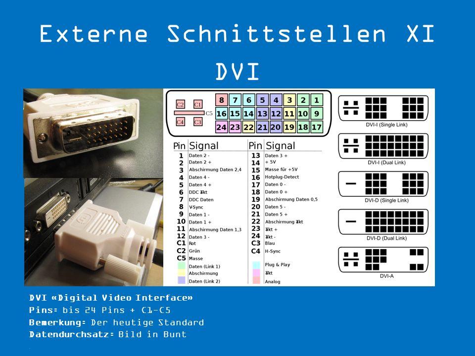 DVI «Digital Video Interface» Pins: bis 24 Pins + C1-C5 Bemerkung: Der heutige Standard Datendurchsatz: Bild in Bunt.