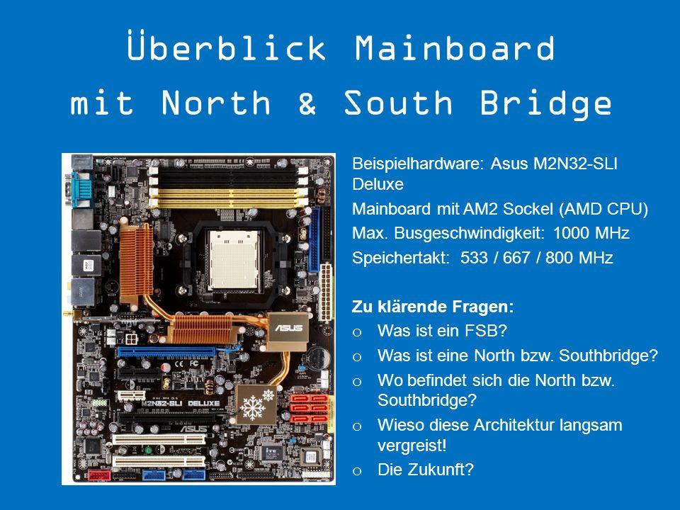 Beispielhardware: Asus M2N32-SLI Deluxe Mainboard mit AM2 Sockel (AMD CPU) Max. Busgeschwindigkeit: 1000 MHz Speichertakt: 533 / 667 / 800 MHz Zu klär