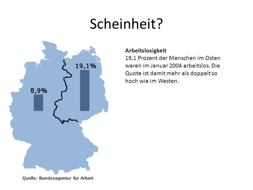 Scheinheit.Arbeitslosigkeit 19,1 Prozent der Menschen im Osten waren im Januar 2004 arbeitslos.