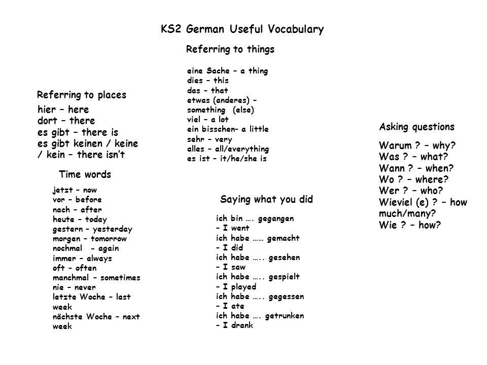KS2 German Core Language Verbs ich – I du – you er / sie / es – he/she/it wir – we ihr – you (fam pl) Sie – you (polite, pl) sie – they ich habeI have