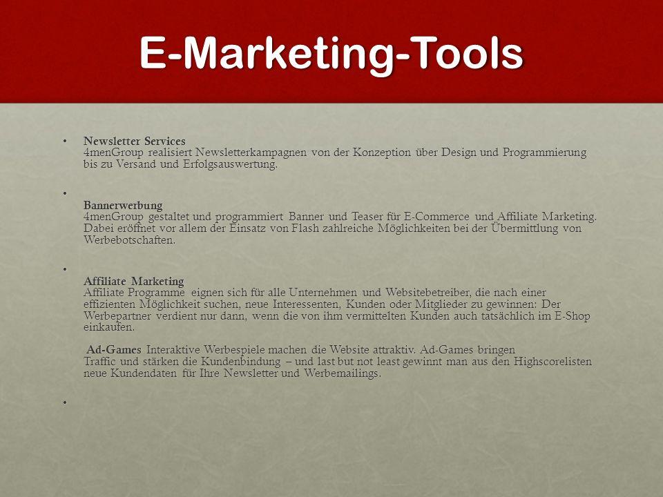 E-Marketing-Tools Newsletter Services 4menGroup realisiert Newsletterkampagnen von der Konzeption über Design und Programmierung bis zu Versand und Er