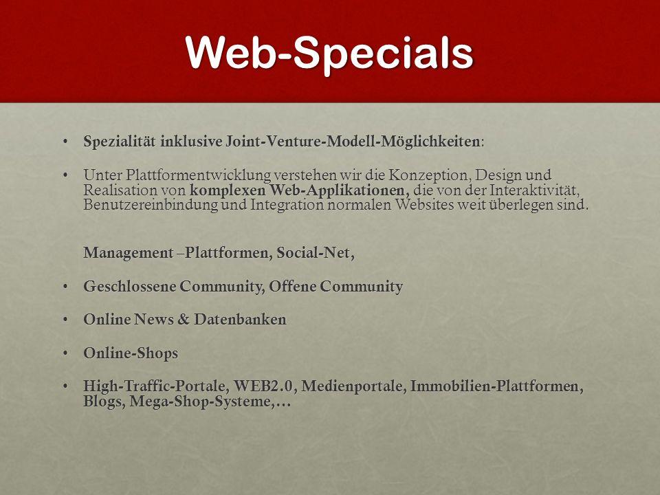Web-Specials Spezialität inklusive Joint-Venture-Modell-Möglichkeiten : Spezialität inklusive Joint-Venture-Modell-Möglichkeiten : Unter Plattformentw