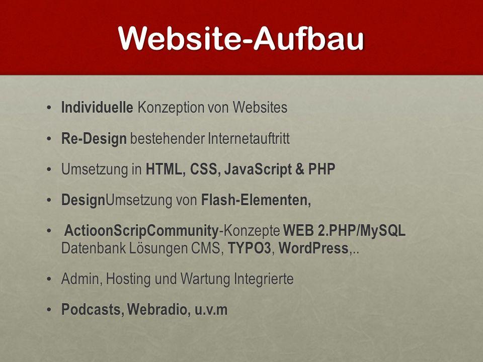 Website-Aufbau Individuelle Konzeption von Websites Individuelle Konzeption von Websites Re-Design bestehender Internetauftritt Re-Design bestehender