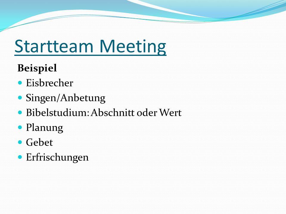 Startteam Meeting Beispiel Eisbrecher Singen/Anbetung Bibelstudium: Abschnitt oder Wert Planung Gebet Erfrischungen