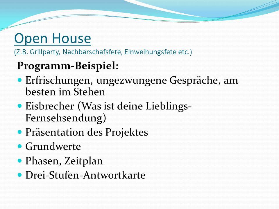Open House (Z.B. Grillparty, Nachbarschafsfete, Einweihungsfete etc.) Programm-Beispiel: Erfrischungen, ungezwungene Gespräche, am besten im Stehen Ei