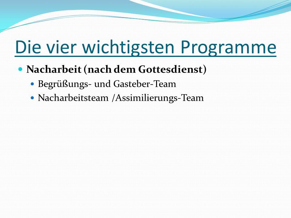 Die vier wichtigsten Programme Nacharbeit (nach dem Gottesdienst) Begrüßungs- und Gasteber-Team Nacharbeitsteam /Assimilierungs-Team