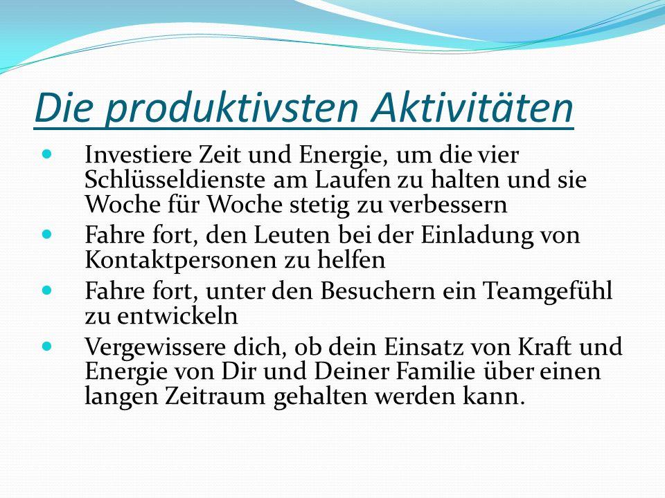 Die produktivsten Aktivitäten Investiere Zeit und Energie, um die vier Schlüsseldienste am Laufen zu halten und sie Woche für Woche stetig zu verbesse