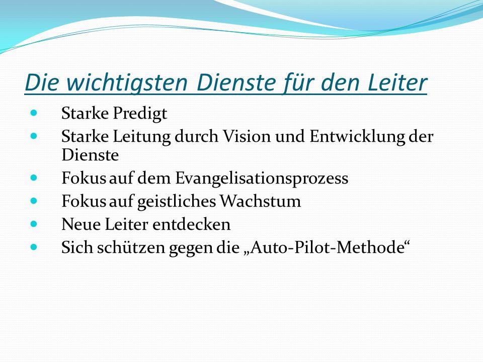 Die wichtigsten Dienste für den Leiter Starke Predigt Starke Leitung durch Vision und Entwicklung der Dienste Fokus auf dem Evangelisationsprozess Fok
