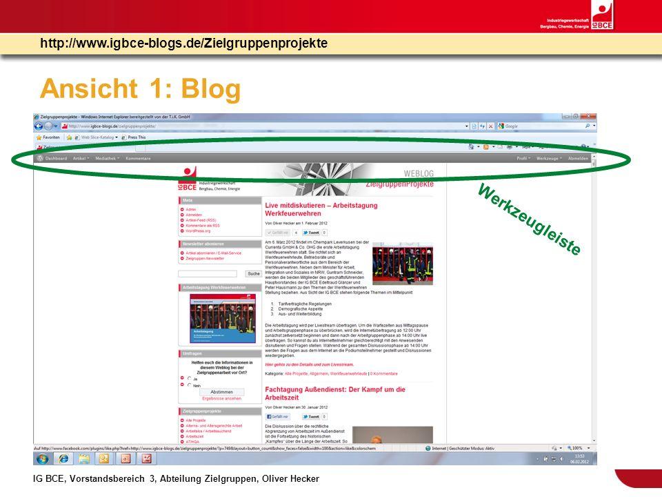 IG BCE, Vorstandsbereich 3, Abteilung Zielgruppen, Oliver Hecker http://www.igbce-blogs.de/Zielgruppenprojekte Ansicht 1: Dashboard Werkzeugleiste