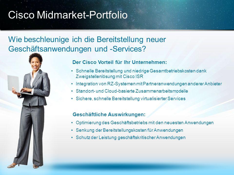 © 2013 Cisco und/oder Partnerunternehmen. Alle Rechte vorbehalten. Vertrauliche Informationen von Cisco 15 Cisco Midmarket-Portfolio Wie beschleunige