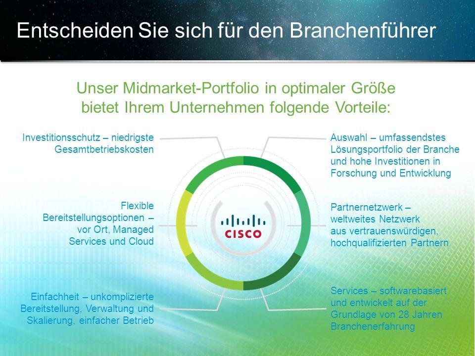 © 2013 Cisco und/oder Partnerunternehmen. Alle Rechte vorbehalten. Vertrauliche Informationen von Cisco 24 Entscheiden Sie sich für den Branchenführer