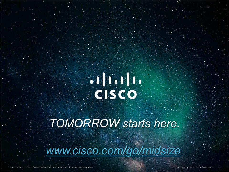 Vertrauliche Informationen von Cisco © 2013 Cisco und/oder Partnerunternehmen. Alle Rechte vorbehalten. 25 C97-722470-00 © 2012 Cisco und/oder Partner