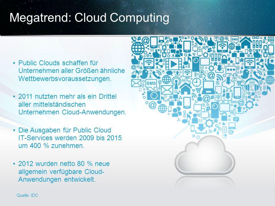 © 2013 Cisco und/oder Partnerunternehmen. Alle Rechte vorbehalten. Vertrauliche Informationen von Cisco 6 Megatrend: Cloud Computing Public Clouds sch