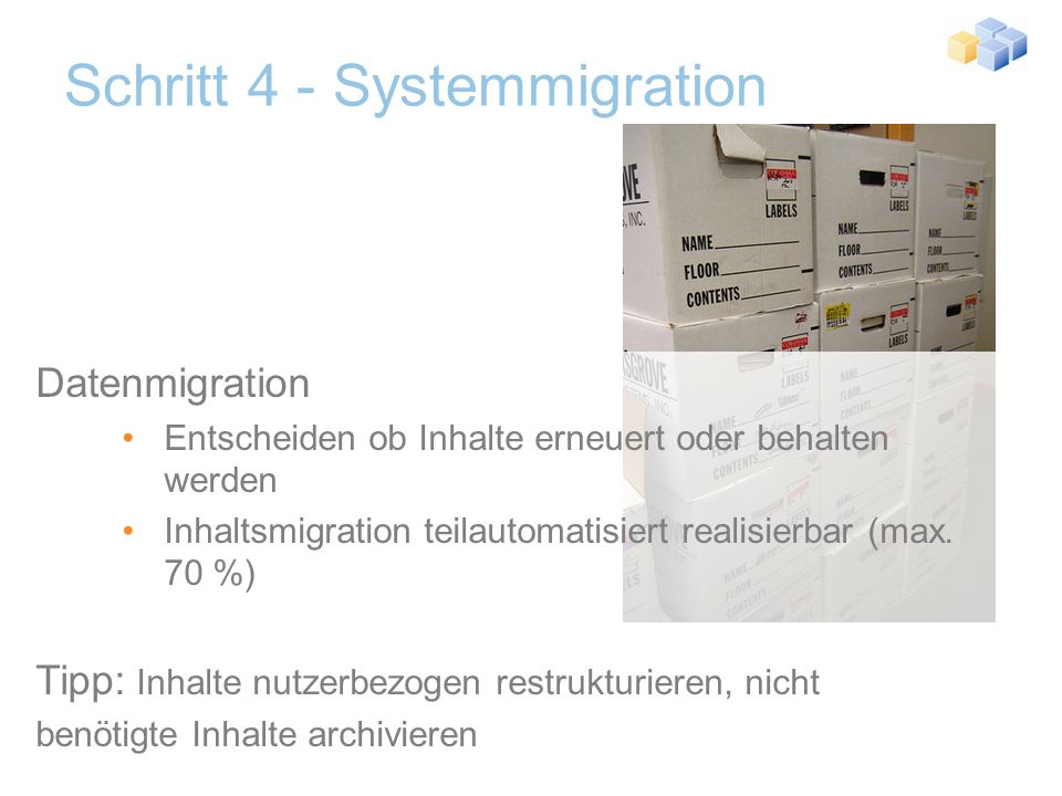 Schritt 4 - Systemmigration Setup & Installation standardisierte Hardware einheitliches Betriebssystem/Datenbank Installation CMS & Portal Einbindung in Backup, Recovery, Monitoring Einbindung in Access Management Tipp: zentrale Benutzerdatenbank (z.B.
