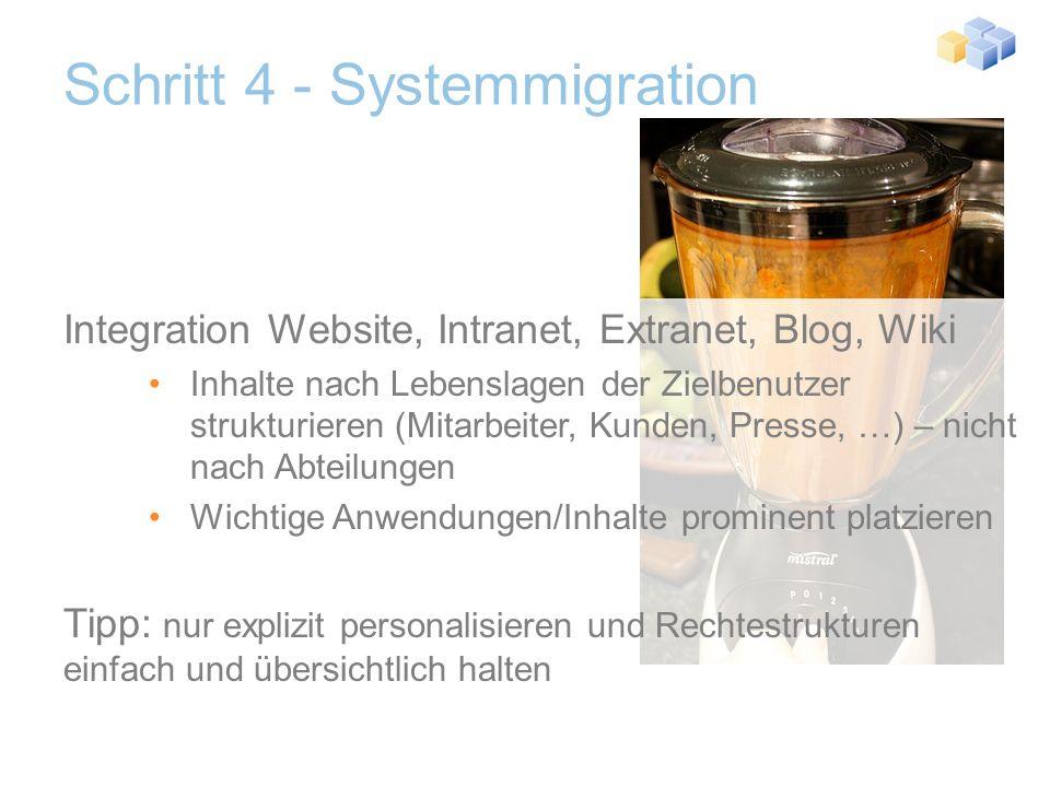 Schritt 4 - Systemmigration Datenmigration Entscheiden ob Inhalte erneuert oder behalten werden Inhaltsmigration teilautomatisiert realisierbar (max.