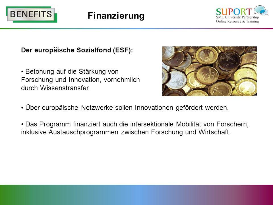Der europäische Sozialfond (ESF): Über europäische Netzwerke sollen Innovationen gefördert werden.