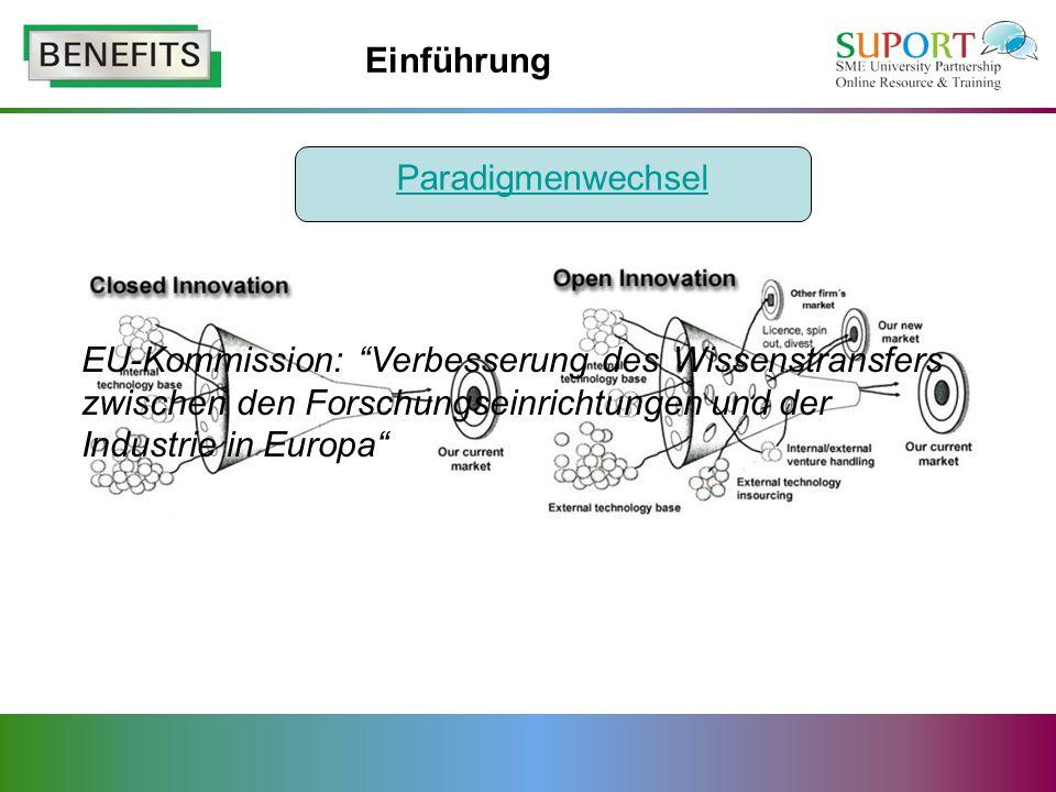 Einführung EU-Kommission: Verbesserung des Wissenstransfers zwischen den Forschungseinrichtungen und der Industrie in Europa Paradigmenwechsel