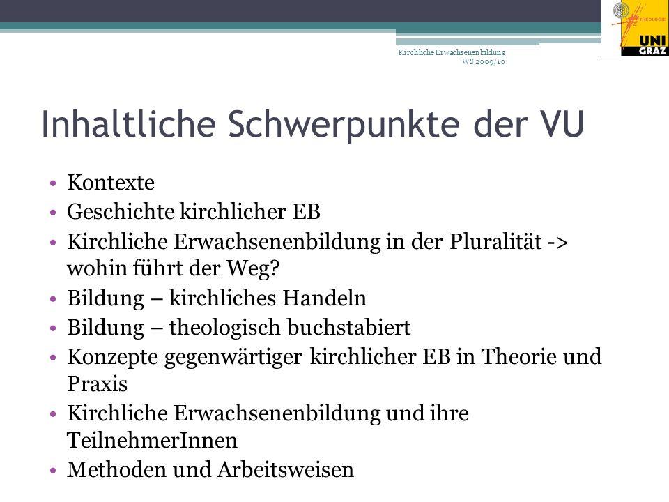 Inhaltliche Schwerpunkte der VU Kontexte Geschichte kirchlicher EB Kirchliche Erwachsenenbildung in der Pluralität -> wohin führt der Weg.