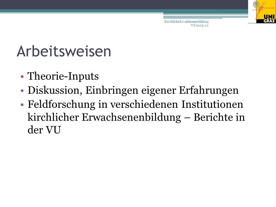 Arbeitsweisen Theorie-Inputs Diskussion, Einbringen eigener Erfahrungen Feldforschung in verschiedenen Institutionen kirchlicher Erwachsenenbildung – Berichte in der VU Kirchliche Erwachsenenbildung WS 2009/10