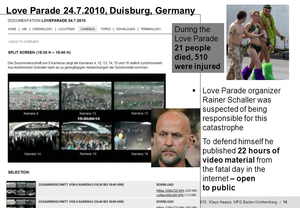 MFG - Mehr Innovation mit IT und Medien © 19.10.2010, Klaus Haasis, MFG Baden-Württemberg | 14 Love Parade 24.7.2010, Duisburg, Germany Love Parade organizer Rainer Schaller was suspected of being responsible for this catastrophe To defend himself he published 22 hours of video material from the fatal day in the internet – open to public During the Love Parade 21 people died, 510 were injured