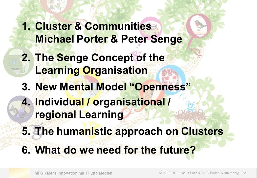 MFG - Mehr Innovation mit IT und Medien © 19.10.2010, Klaus Haasis, MFG Baden-Württemberg   3 1.Cluster & Communities Michael Porter & Peter Senge
