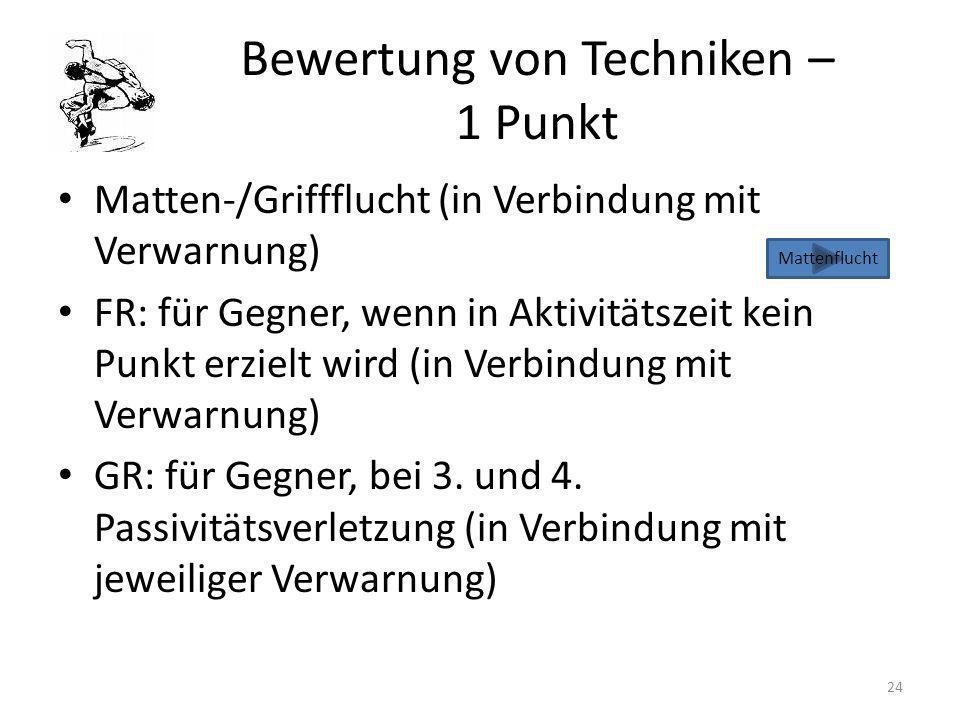 Bewertung von Techniken – 1 Punkt Matten-/Griffflucht (in Verbindung mit Verwarnung) FR: für Gegner, wenn in Aktivitätszeit kein Punkt erzielt wird (i