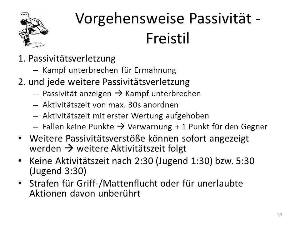 Vorgehensweise Passivität - Freistil 1. Passivitätsverletzung – Kampf unterbrechen für Ermahnung 2. und jede weitere Passivitätsverletzung – Passivitä