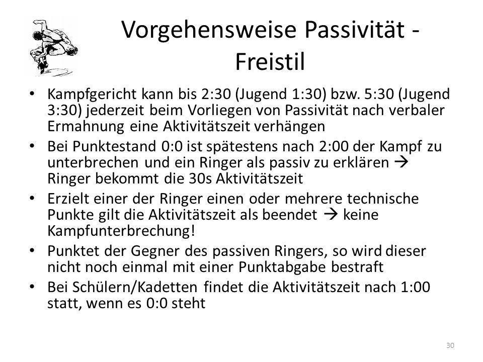 Vorgehensweise Passivität - Freistil Kampfgericht kann bis 2:30 (Jugend 1:30) bzw. 5:30 (Jugend 3:30) jederzeit beim Vorliegen von Passivität nach ver