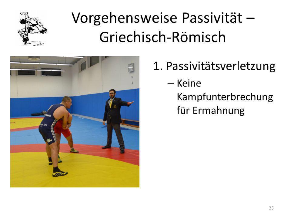 Vorgehensweise Passivität – Griechisch-Römisch 1. Passivitätsverletzung – Keine Kampfunterbrechung für Ermahnung 33