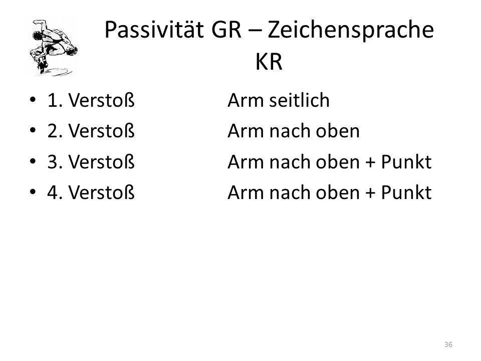 Passivität GR – Zeichensprache KR 1. VerstoßArm seitlich 2. VerstoßArm nach oben 3. VerstoßArm nach oben + Punkt 4. VerstoßArm nach oben + Punkt 36
